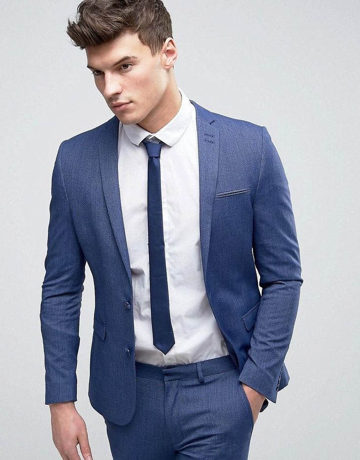 Get this Asos's blazer now! Click for more details. Worldwide shipping. ASOS WEDDING Super Skinny Suit Jacket In Denim Twist - Blue: Suit jacket by ASOS, Soft-touch woven fabric, Contains stretch for comfort, Lined with internal pocket, Notch lapel, Two button opening, Functional pockets, Super skinny fit - cut closest to the body, Dry clean, 74% Polyester, 22% Viscose, 4% Elastane, Our model wears a 40/102cm and is 188cm/6'2 tall, Comes in a suit bag. ASOS menswear shuts down the new season…