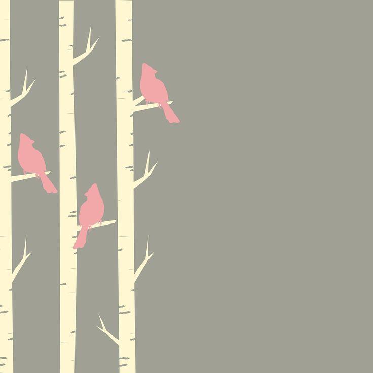 Birds, Trees, Birch, Birch Trees, Perched, Pink, Brown