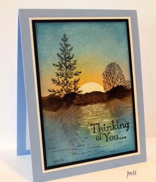 Lovely as a Tree Thinking of You card by Jodi Mckinney... a tranquil scene!