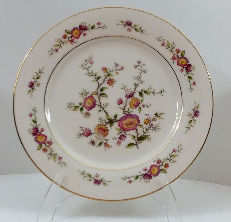 Noritake Asian Song 7151 Salad Plate Ivory China Floral Gold Rim Set of 2 #Noritake