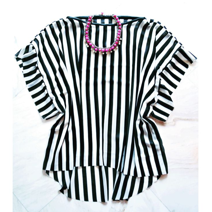 SARTORIAL   Chryssomally    Art & Fashion Designer - Asymmetrical black and white stripes top with leatherette details and statement fuchsia necklace