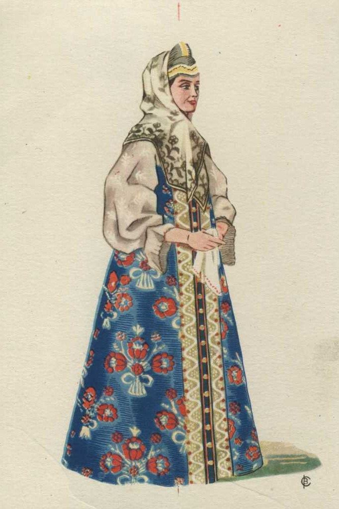 Russian traditional costume of a married woman from Arkhangelsk Province, 19-th century. Postcard, 1957, artist V. A. Sorokin. #art #folk #Russian #costume