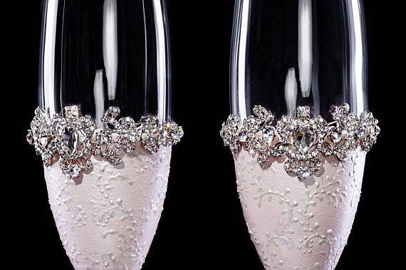 Rose Gold Wedding Champagne Glasses In addition to it you can oder the same stile and color: Wedding Champagne Glasses, Wedding Unity Candle Set, Wedding Cake Server and Knife Set, Dish for Wedding Cake, 2 Forks, Bottle of Champagne, Plate for Rings You can order everything what you