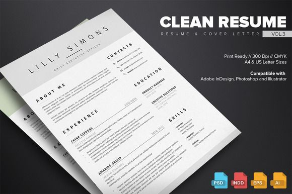 Clean Resume Template Vol 3 By Kovalski On