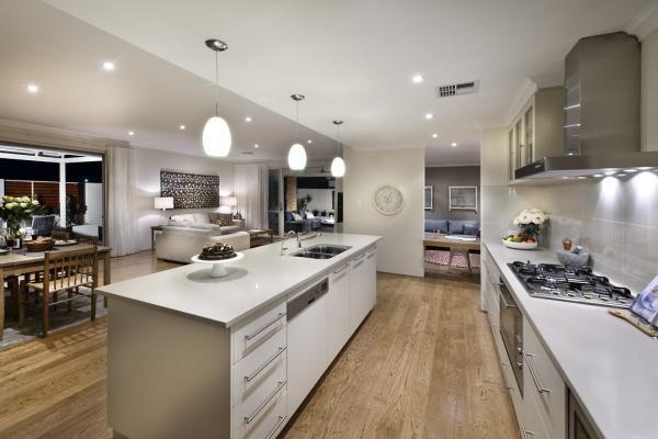 Homestead Display Home - Big, Warm & Homely Wooden floor, light kitchen