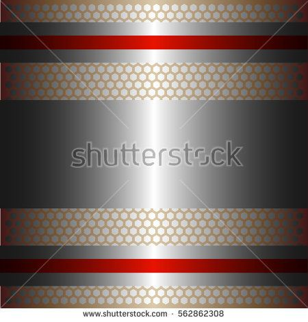 Shiny silver metal with silver background.Two glossy red lines.Gold plate with hexagon holes style design .
