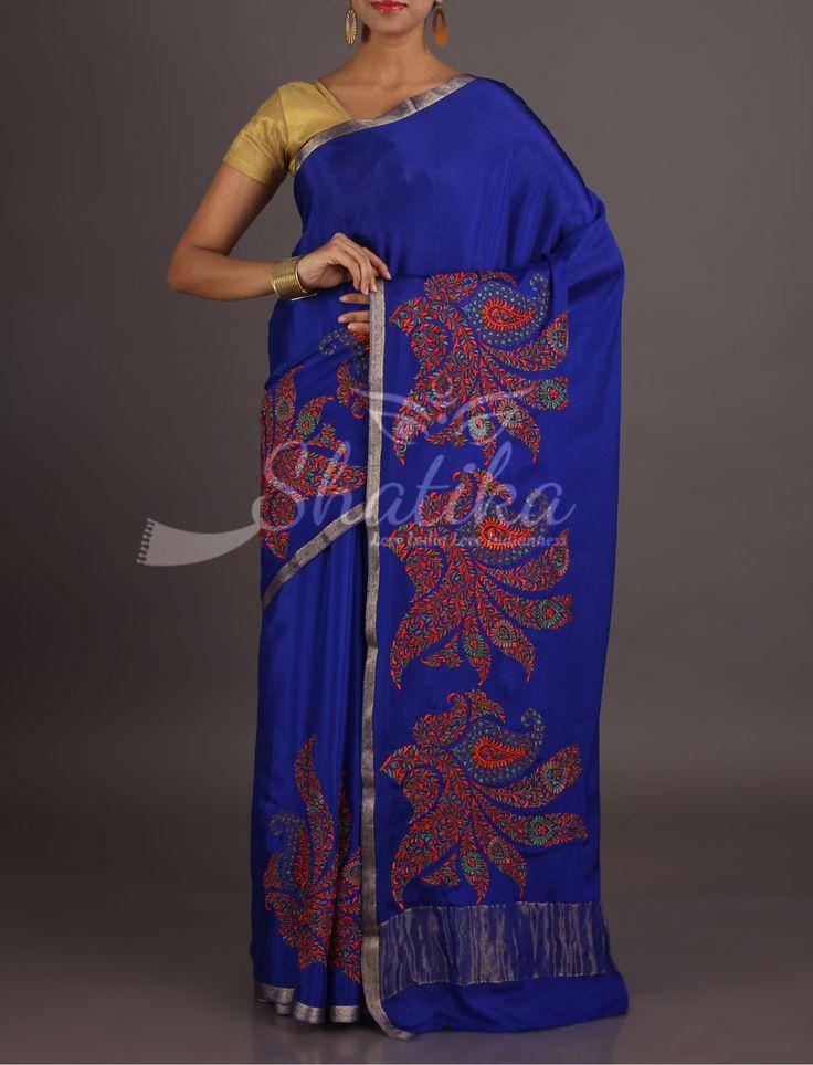 Shikha Royal Blue With Colorful Bold Motifs Lace Border Pure Mysore Chiffon Saree