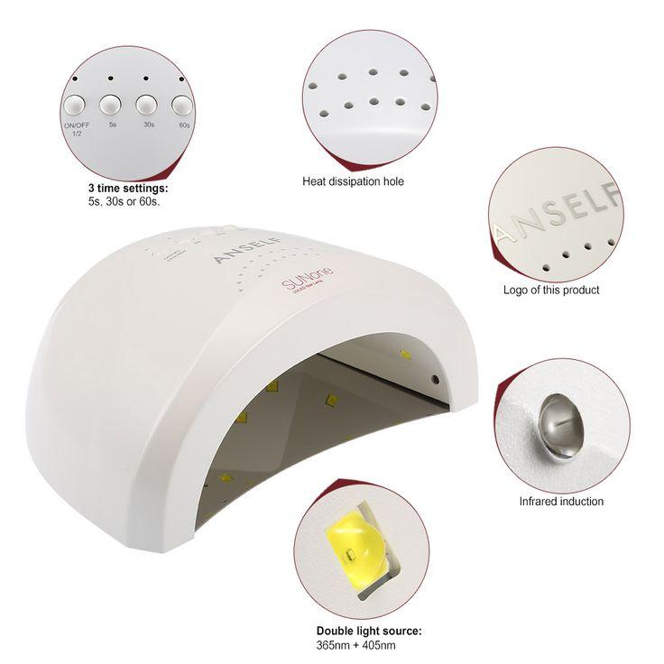 SUNone Anself Белый Свет LED Сушилка Для Ногтей Машина 48 Вт/24 Вт Ноготь и Нагреватель Лак Для Ногтей ногти УФ Гель Отверждения Сушилка Лампы свет купить на AliExpress