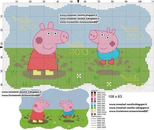 Peppa & George pig cross stitch