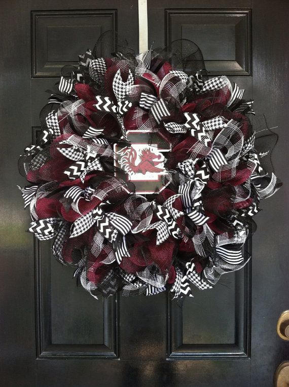 Large Mesh Ribbon Wreath South Carolina Gamecocks Football College Baseball Team Garnet Black White