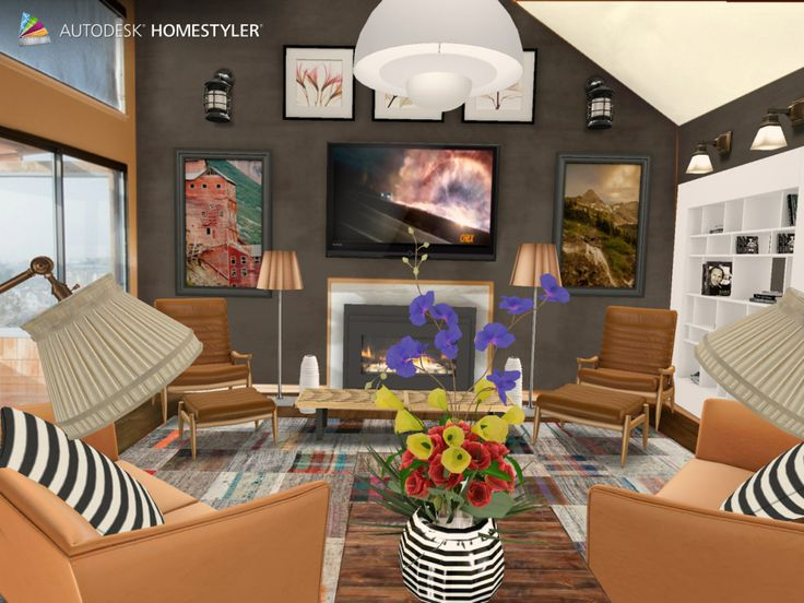 """Check out my #interiordesign """"Living room with fireplace"""" from #Homestyler http://autode.sk/1io5z7q"""