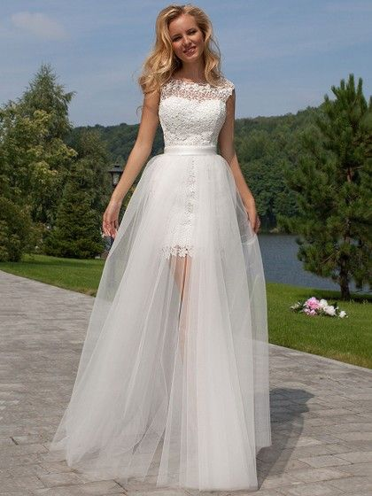 Sheath/Column Scoop Neck Lace Tulle Detachable Ruffles Open Back Funky Wedding Dresses