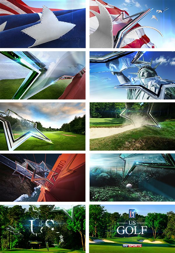 Title sequence for Sky Sports', PGA Tour Golf programme.