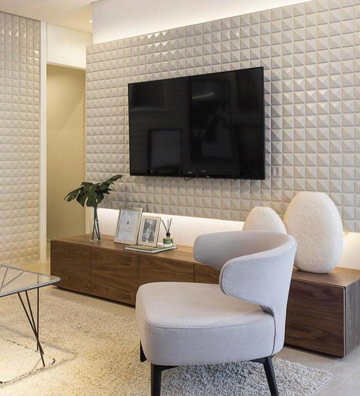 Painel de tv maravilhoso {} Sala com tons neutros e destaque para a iluminação { Projeto Sesso e Dalanezi }