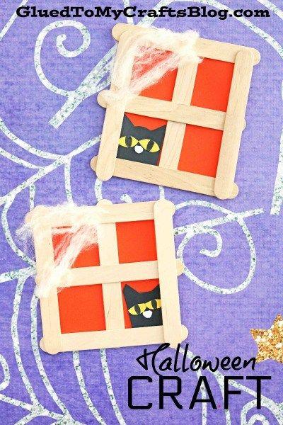 Popsicle Stick Black Cat in Window - Halloween Kid Craft Idea