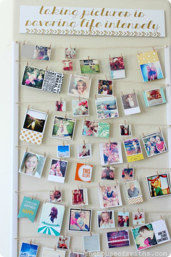 Add a personalized twist to this creative photo display by snagging twine or ribbon and wooden clothespins from Dollar Tree for only $1 per item. We enjoy home décor on a budget!