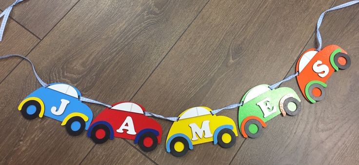 Personalised Car Bunting Garland  2.99 PER LETTER Order quantity of letters required in QTY box by UnaCasaPersonalised on Etsy