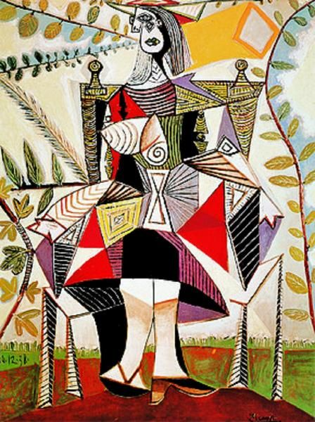 Explore the world of cubism and make a reproduction of Pablo Picasso's artwork featuring a woman in a garden. Femme au Jardin has 1000 piece. Made by Ricordi.