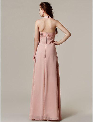 uma linha do assoalho-comprimento vestido de dama de honra chiffon halter (2671956) – BRL R$ 307,77