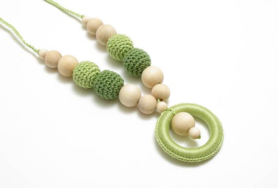 Green crochet necklace teething necklace mommy & baby #Greencrochetnecklace, #teethingnecklace