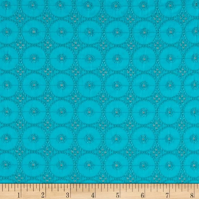 Telio Cassie Eyelet Turquoise from @fabricdotcom  This cotton eyelet features scallops on each selvedge edge. Great for blouses, dresses, fuller skirts and even home décor.