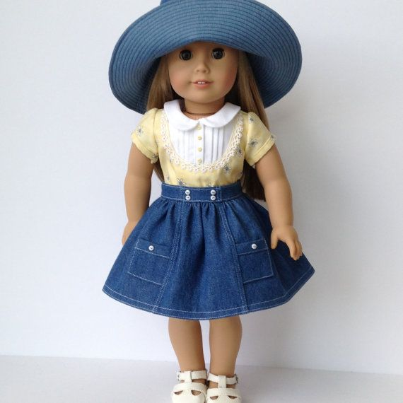 Nautical Skirt Pin-Tuck Top and Floppy Hat by LilyKayDollClothes on Etsy $38.00