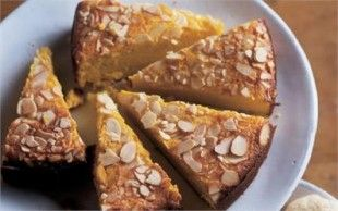 APPLE AND ALMOND CAKE It's astonishing how buttery this cake tastes, given that there is not a gram of butter in it. The flour is replaced with ground almonds - and cooked, cooled, pureed fruit provides moistness and flavour.