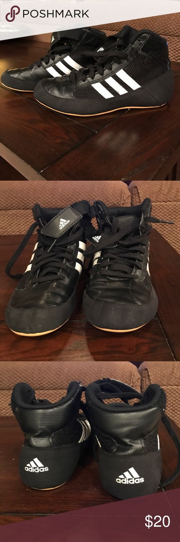 Adidas youth wrestling shoes size 1.5 Adidas youth size 1.5 wrestling shoes. Only worn a few times before we had to buy a bigger size. Great condition and come from a pet and smoke free home. Adidas Shoes