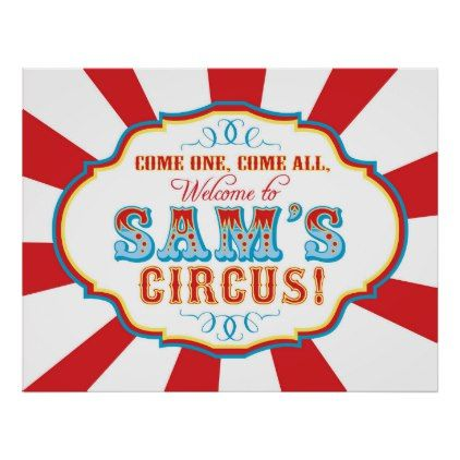 Carnival Circus Birthday Banner for Sam CUSTOM Poster - red gifts color style cyo diy personalize unique