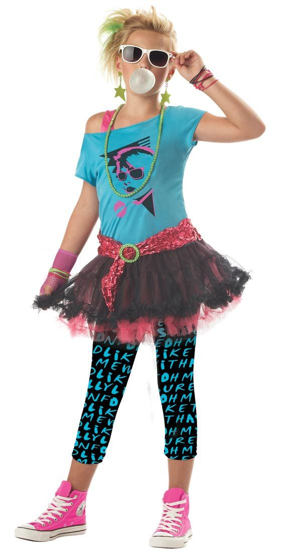 This totally awesome valley girl costume features a blue off the shoulder top with an 80s face screen-print on the chest, one hot pink strap, and an attached two-layer black and pink ruffled pettiskir