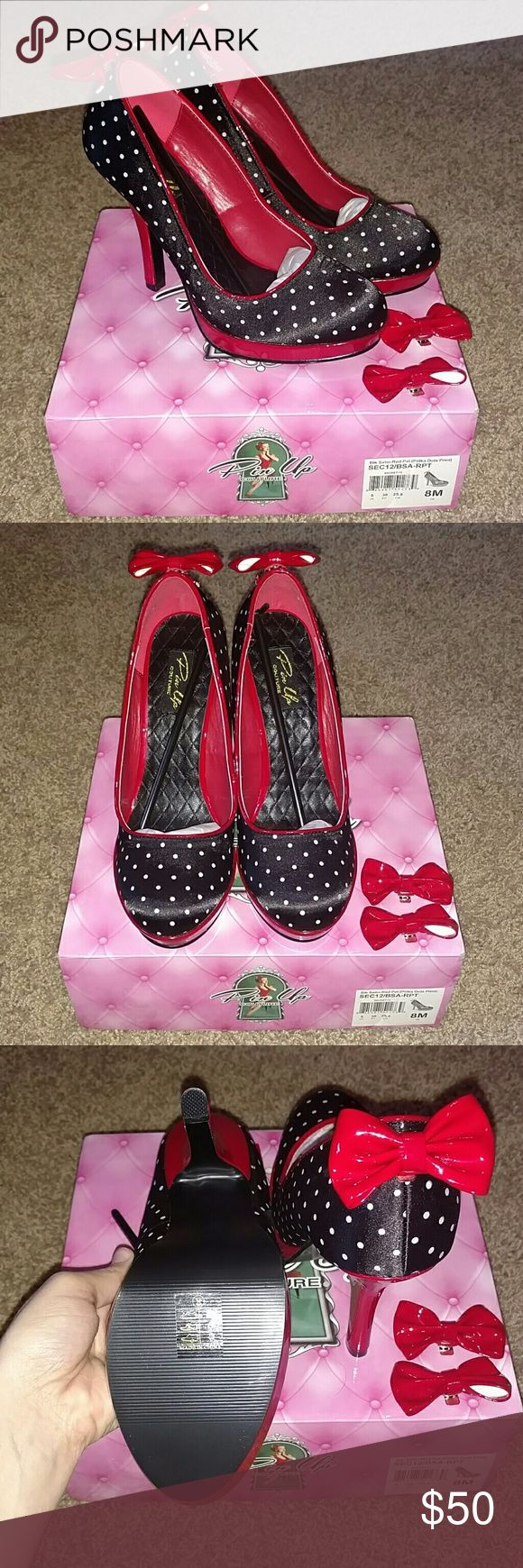 Pinup Couture Heels Brand New! Never worn, Black and Red Satin with Polka dots, also all the red bows are clips, you can wear them without bows. These heels run small, fit more like a 7. Shoes Heels