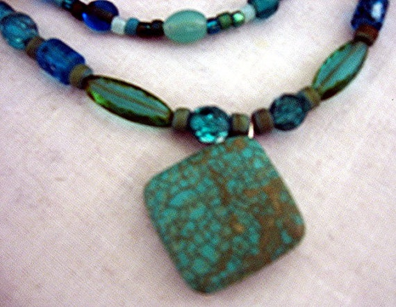 Chalk Turquoise and Green Necklace by treasuresbycathy on Etsy, $19.95