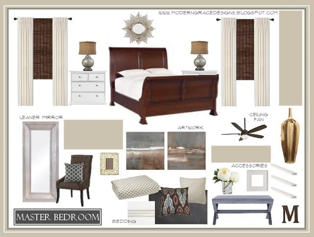 Master Bedroom Design Board via Modern Grace Designs    www.moderngracedesigns.blogspot.com