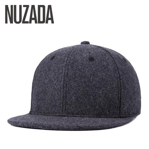 4f2977ff69510 Brand NUZADA Winter Autumn Baseball Cap For Men Women Couple Wool PU  Leather Bone Quality Caps Thick Warm Hats Snapback
