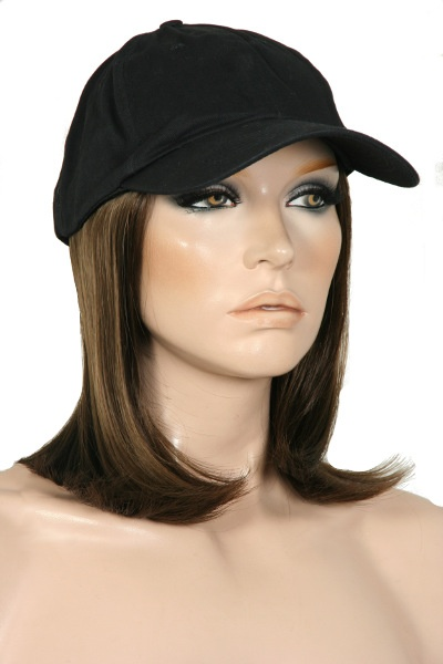 accent range classic wig hat beautiful premium synthetic hair permanently attached cotton baseball cap comfortable