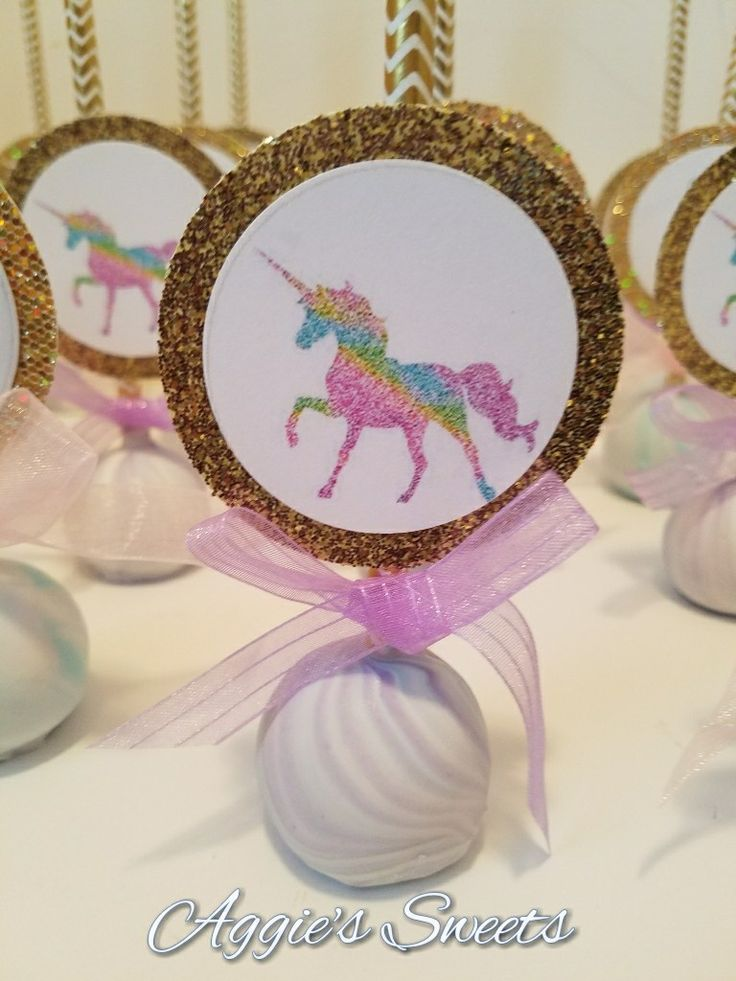 Unicorn themed cake pops