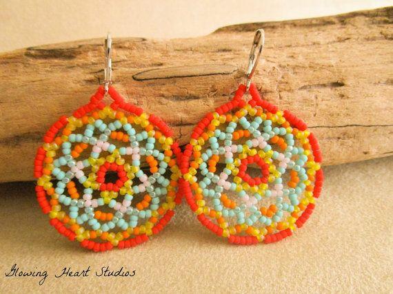Huichol art earrings desert flower van GlowingHeartStudios op Etsy