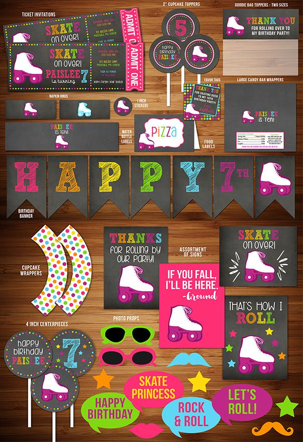 Printable Chalkboard Roller Skating Party Package Decorations | Ticket Invitation | Girls Skate Party | Lets Roll | Teenage or Tween Party | Disco Dancing Birthday Party Decor | Banner | Food Labels | Photo Props | Signs | Cupcake Toppers | Favor Tags and More! | www.dazzleexpressions.com