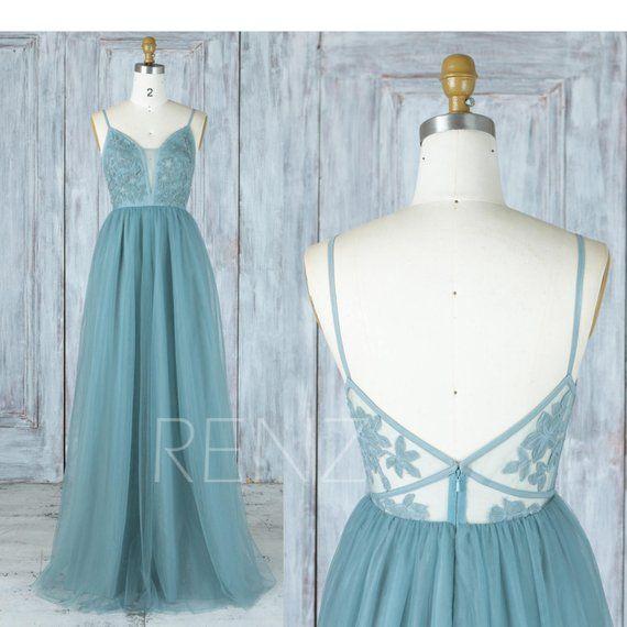 Bridesmaid Dress Dusty Blue Tulle Dress Wedding | Etsy