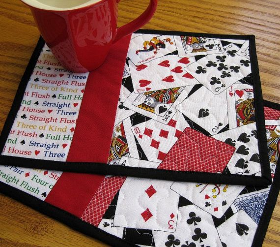 Poker/Cards Quilted Mug Mat; could also use the Dick and Jane panels and fabric