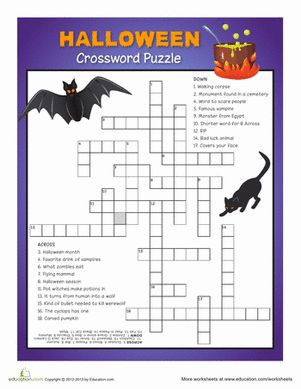 Halloween Fourth Grade Puzzles & Sudoku Worksheets: Halloween Crossword Puzzle #5