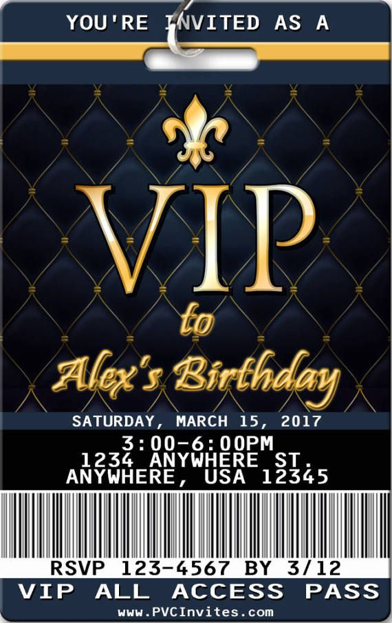 VIP Pass Theme Personalized Birthday Invitations Printed On PVC Plastic Passes Lanyard Included