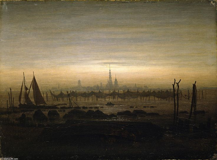 'Greifswald in moonlight', 1817 by Caspar David Friedrich (1774-1840, Germany)