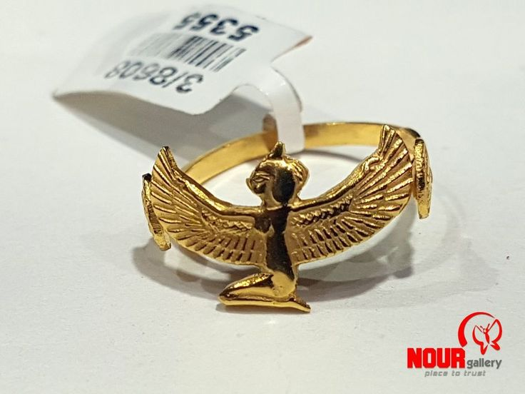 Egyptian Handmade Queen Isis with wings Ring All Sizes 18K Yellow Gold 2.88 g #Handmade #EgyptianHandmadePharaohAnkhCrossKeyofLife
