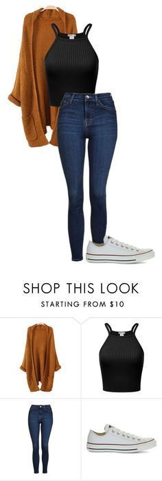 """""""Untitled #485"""" by cuteskyiscute ❤ liked on Polyvore featuring Topshop and Converse #casualwinteroutfit"""