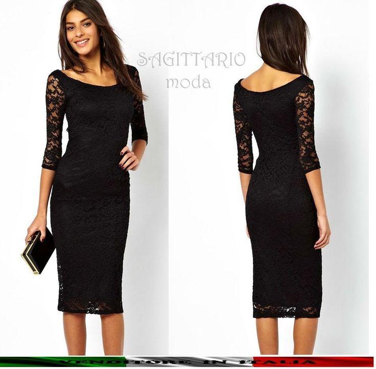 Vestito matita tubino nero classico nero pizzo manica lunga elegante sera  abito
