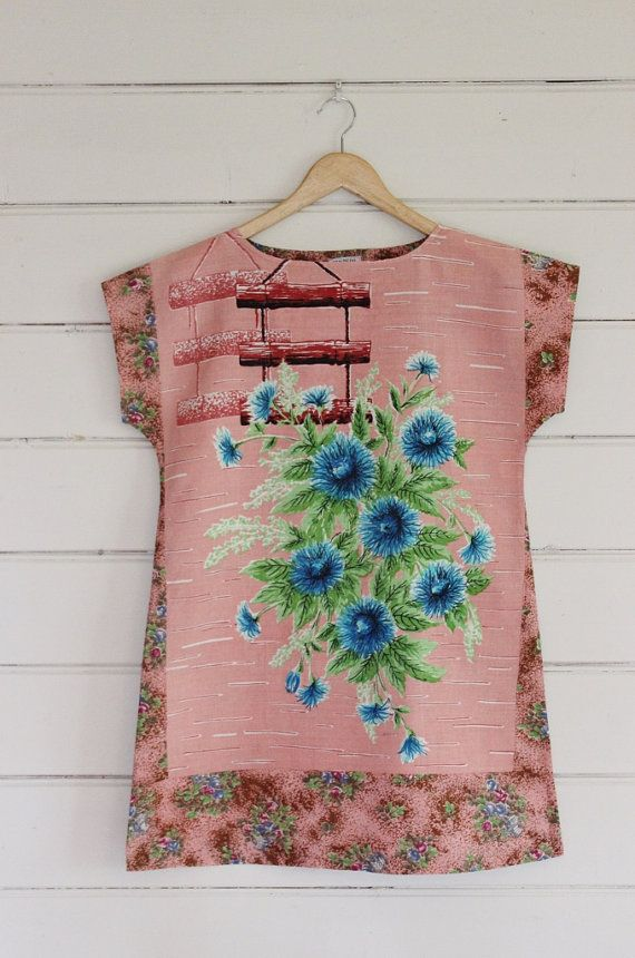 Upcycled Linen Tea Towel Tunic Women Dress Cotton Shabby Chic Pink Blue Floral Small Mini Fifties
