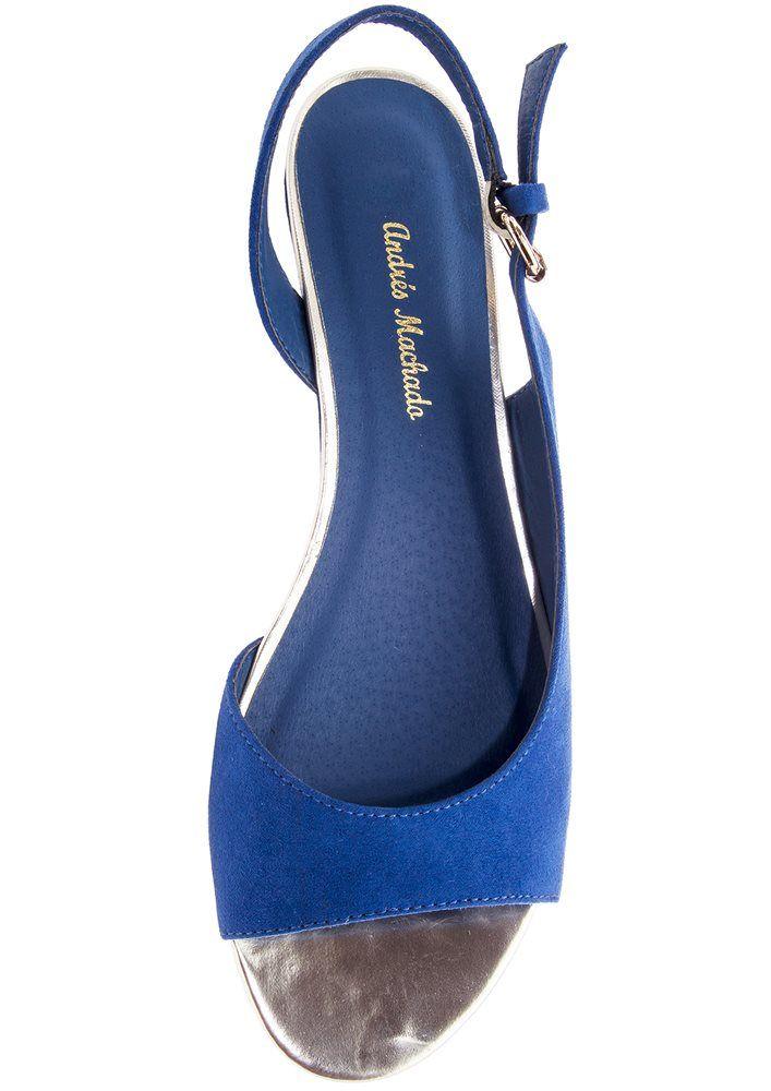 wedge halter back peep toe blue