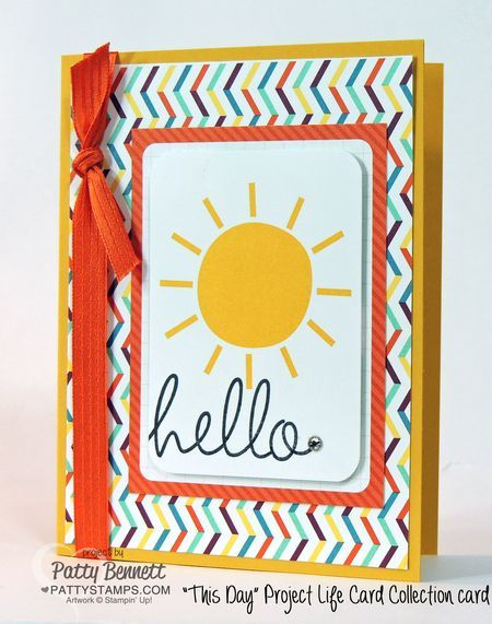 """Create 10 easy greeting cards with 1 pack of Stampin' UP! Project LIfe """"This Day"""" Sale a Bration cards and 10 Cut and Ready Card Bases! Add some ribbon, punched embellishments and a few greeting stamps, voila! by Patty Bennett #stampinup #PLxSU #projectlife"""