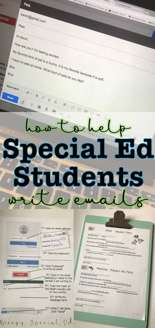 Writing Emails Supports for Special Education